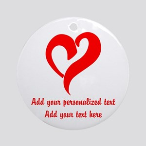 Red Heart Personalized Round Ornament