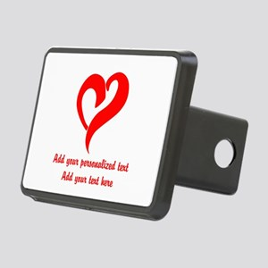 Red Heart Personalized Rectangular Hitch Cover