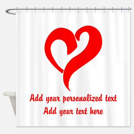 Red Heart Personalized Shower Curtain