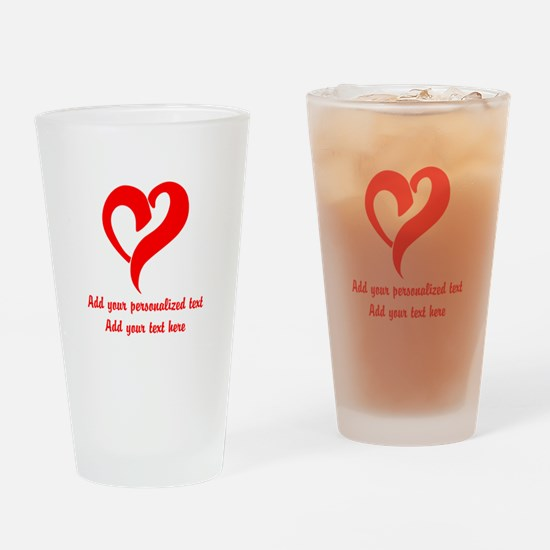 Red Heart Personalized Drinking Glass