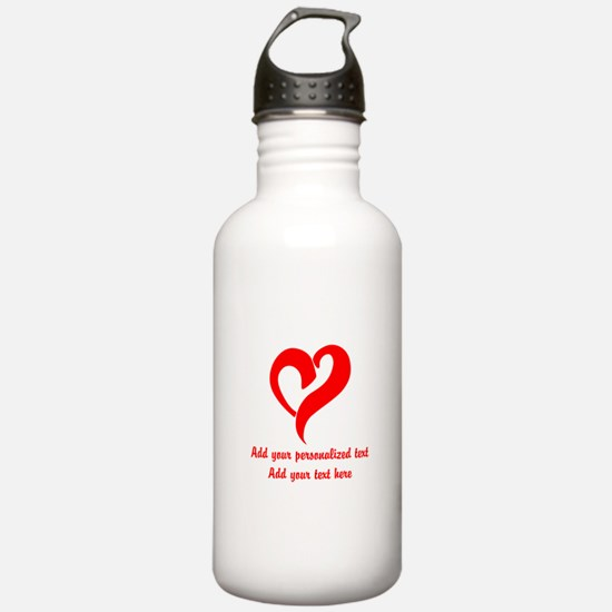 Red Heart Personalized Water Bottle