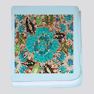 bohemian floral turquoise rhinestone baby blanket