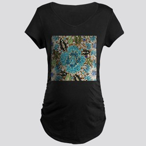 bohemian floral turquoise rhines Maternity T-Shirt