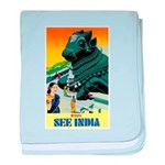 India Travel Advertising Print baby blanket