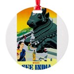 India Travel Advertising Print Round Ornament