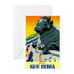 India Travel Advertising Print Greeting Cards