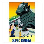 India Travel Advertising Print Square Car Magnet 3