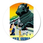 India Travel Advertising Print Round Car Magnet