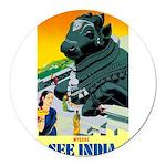 India Travel Advertising Print Round Car Magnet