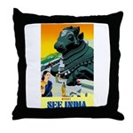 India Travel Advertising Print Throw Pillow