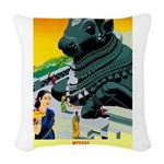 India Travel Advertising Print Woven Throw Pillow