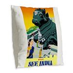 India Travel Advertising Print Burlap Throw Pillow