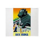 India Travel Advertising Print Throw Blanket