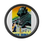 India Travel Advertising Print Large Wall Clock