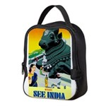India Travel Advertising Print Neoprene Lunch Bag