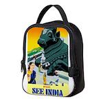 India Travel Advertising Print Neoprene Lunch Bag