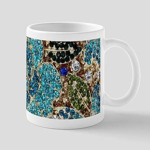 bohemian floral turquoise rhinestone Mugs