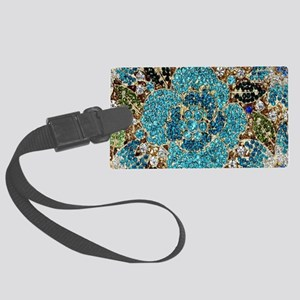 bohemian floral turquoise rhines Large Luggage Tag
