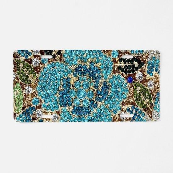 bohemian floral turquoise r Aluminum License Plate
