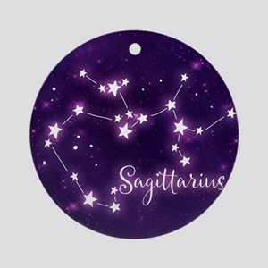 Sagittarius Zodiac Constellation Round Ornament