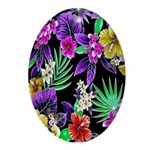 Colorful Flower Design Print Oval Ornament