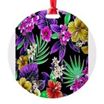 Colorful Flower Design Print Round Ornament