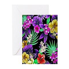Colorful Flower Design Print Greeting Cards
