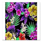 Colorful Flower Design Print Square Car Magnet 3