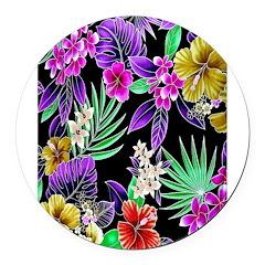 Colorful Flower Design Print Round Car Magnet