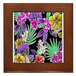 Colorful Flower Design Print Framed Tile