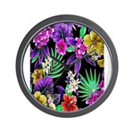 Colorful Flower Design Print Wall Clock