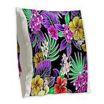 Colorful Flower Design Print Burlap Throw Pillow