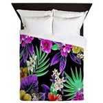 Colorful Flower Design Print Queen Duvet