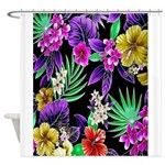 Colorful Flower Design Print Shower Curtain