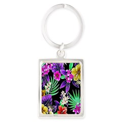 Colorful Flower Design Print Keychains