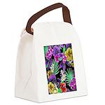 Colorful Flower Design Print Canvas Lunch Bag