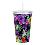 Colorful Flower Design Print Acrylic Double-wall T
