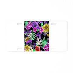 Colorful Flower Design Print Aluminum License Plat