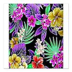 "Colorful Flower Design Print Square Car Magnet 3"""