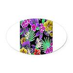Colorful Flower Design Print Oval Car Magnet