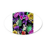 Colorful Flower Design Print Oval Car Magnet