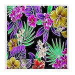 Colorful Flower Design Print Tile Coaster