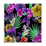 Colorful Flower Design Print Tile Coaster
