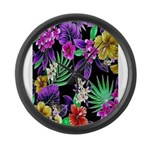 Colorful Flower Design Print Large Wall Clock