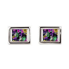 Colorful Flower Design Print Rectangular Cufflinks