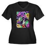 Colorful Flower Design Print Plus Size T-Shirt