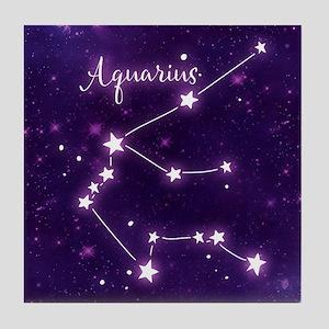 Aquarius Zodiac Constellation Tile Coaster