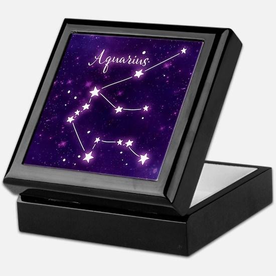 Aquarius Zodiac Constellation Keepsake Box