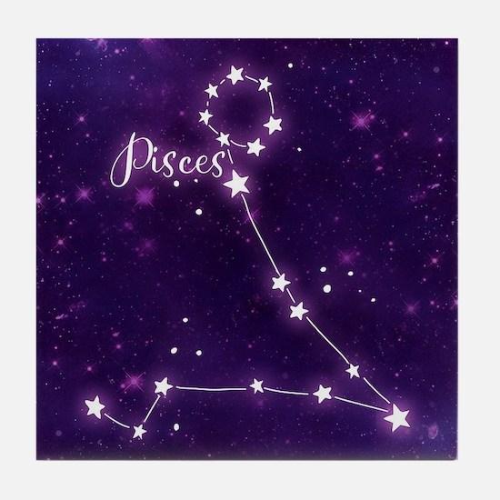 Pisces Zodiac Constellation Tile Coaster