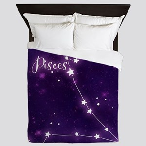 Pisces Zodiac Constellation Queen Duvet